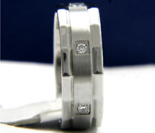New Stainless Steel Engagement Wedding Anniversary Men's 0.01 CT CZ Band Ring