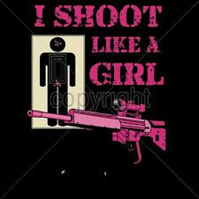 Gun Control Tshirt I Shoot Like A Girl Rifle Permit Weapon 2nd Target Pink Camo