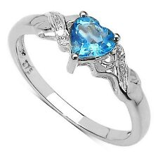 9CT WHITE GOLD HEART SHAPED BLUE TOPAZ & DIAMOND ENGAGEMENT RING