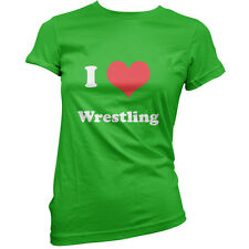 I Love Wrestling - Womens / Ladies T-Shirt -11 Colours - Equipment - Present