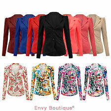 LADIES WOMENS 5 BUTTON FRONT PONTE SLIM FIT OFFICE SMART BLAZER JACKET COAT 8-14