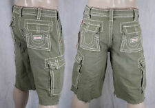 True Religion brand ISAAC natural big T cargo shorts old sage green MEG841EH