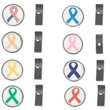 30 Double Sided Polymer Ribbon Awareness Polyclay 14mm Round Disc Clay Beads