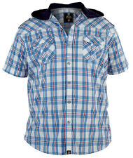 MENS BRANDED D555 SPEED BLUE CHECK SHORT SLEEVE HOODED SHIRT KING SIZE XL - 6XL