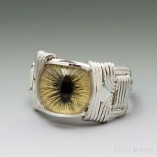 Yellow Glass Cat Eye Eyeball Cabochon Sterling Silver Wire Wrapped Ring ANY Size