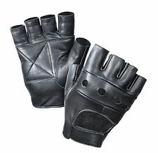 Fingerless Leather Biker Gloves -Leather Finger-Less Motorcycle Gloves S-XL