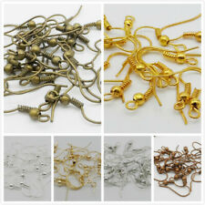 Free Ship Wholesale 300Pcs Ear Coil Wire Metal Earring Hooks Finding 4 Color