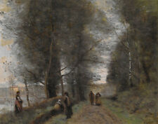 "Camille Corot : ""Ville d'Avray, Path Bordering Pond"" (1872) — Fine Art Print"
