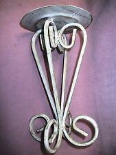 """11"""" Tall Wrought Iron Scrollwork Pillar Candle Stand Antiqued White or Bronze"""