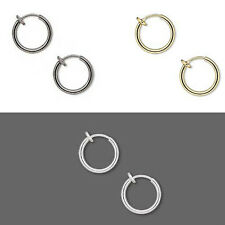 Pair of 1/2 inch Little Clip on Hoop Earrings W/ Spring Closure for Pierced Look