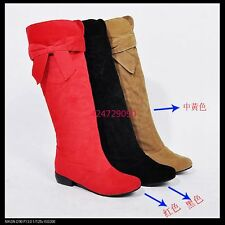Women's Low Heel Knee High Boots Lovely Side Bowknot Shoes AU All Sz YB801