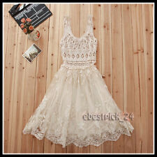 FREE GIFT + Vtg sheer Floral CROCHET lace Chiffon Boho embroidery WEDDING DRESS
