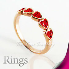 18K GP Red Love Heart Ring Use Swarovski Crystal RP9562 Free Gift Pouch