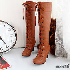 New Fashion Lady Lace-Up Stiletto Sexy Women Knee-High Heel Boots Shoes 3 Color