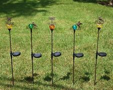 SOLAR POWERED DECORATIVE LIGHTS GARDEN STAKES CHOOSE HOME PEACE DREAM HOPE NEW