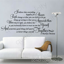 I believe that everything happens - Marilyn Monroe ~ Wall Quote Decals Stickers
