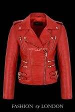 MAXIM Red Waxed Ladies Style Rock Motorcycle Designer Lambskin Leather Jacket