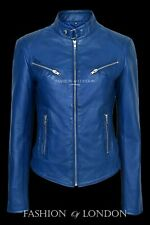 CRUSH Blue WASHED Ladies Biker Style Fitted Real Lambskin Leather Jacket