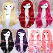 80cm Anime Straight long Cosplay Party hair Wig + free wig cap cw109