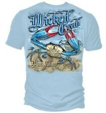Fishing Shirt Wicked Crab Blue Claw Cracker Shell Fish Sea Net Hook Angler Catch