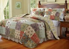 3pc FRENCH COUNTRY COTTAGE Patchwork Cotton QUILT SET Twin Full/Queen King/CKing