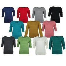 LADIES ROUND CREW-NECK LONG SLEEVE WOMENS SMART JUMPER TOP SWEATER SIZES 8-20