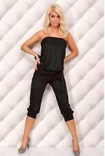 LADIES 3/4 STRAPLESS PLAYSUIT JUMPSUIT ROMPER BANDEAU TOP 5 colours!!!