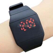 WOMENS MENS LEISURE SILICONE RED LED TOUCH SCREEN DIGITAL SPORT WRISTWATCH BI2K