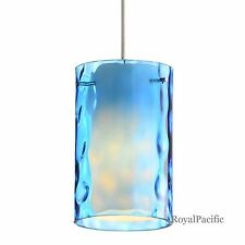 1-Lamp Pendant Lighting Fixture Cylinder Shape Inside Water Glass Shade 4 Color