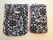 Black & White Damask DIAPER POUCH with Matching Wipes Case. Optional trim colors