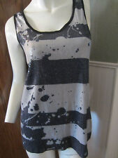 BLUE AND GREY STRIPED SEQUIN PAINT SPLATTER TANK TOP HOT TOPIC DIFFERENT SIZES