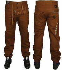 NEW MENS G FUNK GF1046 BROWN CUFFED TAPERED JOGGERS ALL SIZES 28 TO 40