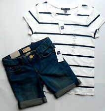 nwt GAP Girl 2pc Outfit-Med Wash Stretch Denim Short &Navy/White Striped T-Shirt