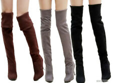 Womens Ladies Stretch High Heel Shoes Pull On Over Knee Boots US All Size YB041