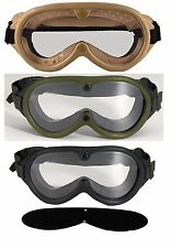 Army Marine G.I. Type Sun, Wind, And Dust Goggles - Black, Olive Drab, Tan
