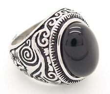 Mens Large Natural Black Oval Onyx Stainless Steel Ring Size 8,9,10,11, 12, 13