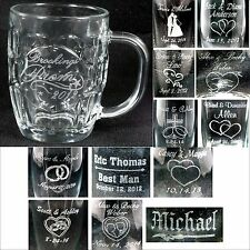 Personalized 20oz Crest Glass Beer Mugs Custom Wedding Party Anniversary Gifts