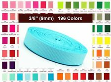 "BUY 5 GET 1 FREE ***5y 3/8"" 9mm U PICK 196 Colors Solid Grosgrain Ribbon 7000/10"