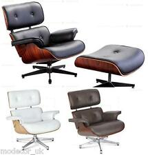 Charles Eames Lounge Chair and Ottoman Black White Brown Leather - walnut cherry