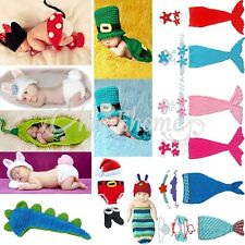 Baby Girl Infant Mermaid Outfit Crochet Knit Tail Xmas Costume Photo Prop 0-12M