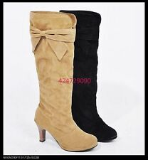 Women's Sexy Heel Boots Knee High Lovely Upper Bowknot Shoes US All Sz Y807