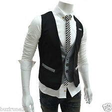 (VE36) TheLees Mens Layered style Slim fit 2Tone Vest Waist Coat Black Gray