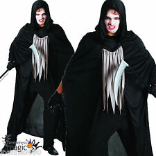 MENS HALLOWEEN GRIM REAPER WRAITH FANCY DRESS OUTFIT COSTUME HOODED CLOAK CAPE