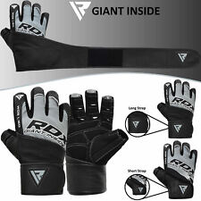 Auth RDX Gel Weight lifting body building gloves Gym Strap training Leather US