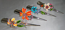 Flower Painted Metal Clamp w/ Rhinestones Hair Accessory, Fast Delivery from USA