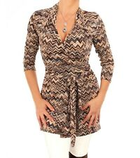 Blue Banana - New Brown and Beige Zig Zag Print Wrap Top
