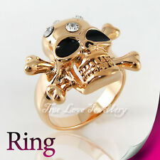 Cool 18K GP Skull Ring Use Swarovski Crystal RP9577 Free Gift Pouch