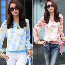 Women Puff Floral Print Chiffon Blouses Casual Long Sleeve Tops Shirt New
