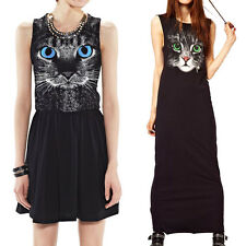 Women's Lady Hot Animal Cat Cartoon Print Sleeveless Maxi Long Tank Dress Summer