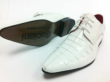 Italian Design Mens Boys Patent Leather Look Spats Brogues Lace Up Shoes  White